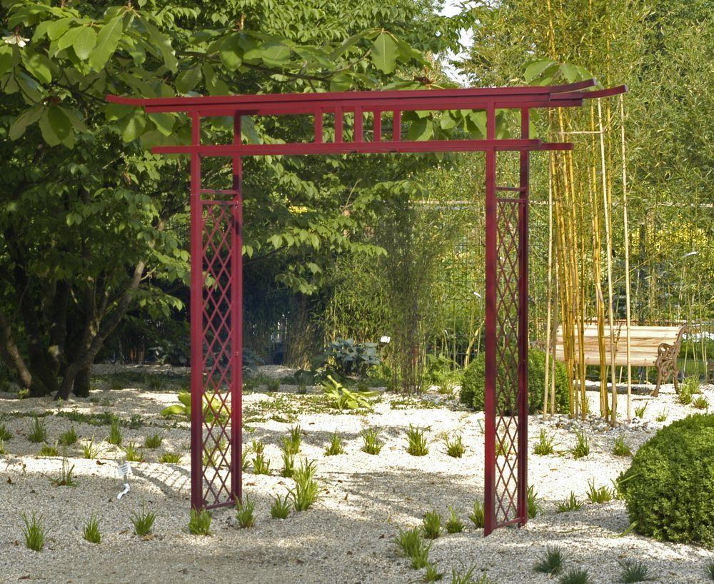 Torii Japanese Rose Arch Torii Summer Japanese Landscape. Japanese Garden  Trellis