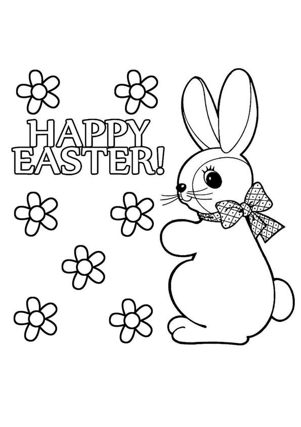 print coloring image Easter, Easter bunny and Bunny - best of bunny rabbit coloring pages print
