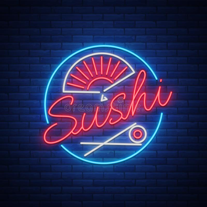 Sushi Logo In Neon Style Bright Neon Sign With Text Is Seafood Japanese Food Bright Billboard Billboard Vector Illustration Sushi Logo Neon Signs Neon