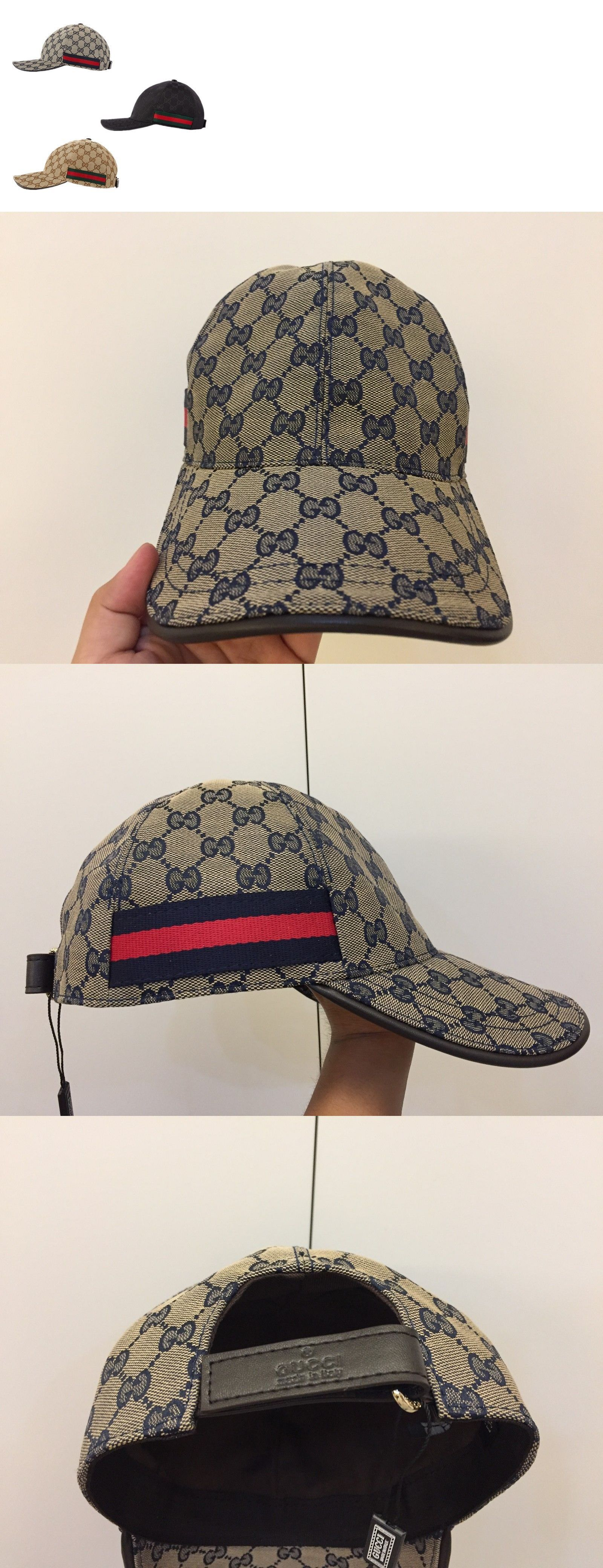 993a25a4a19704 Hats 163543  Nwt  Men Gucci Cap Baseball Monogram Gg Cap Size M Adjustable  Black Brown Gray -  BUY IT NOW ONLY   86.65 on eBay!