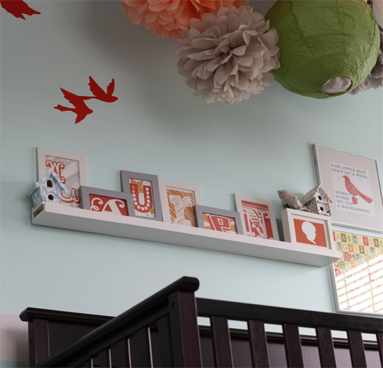 Love the name in frames on the shelf!  Cute colors too!