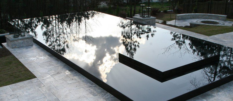 Black Reflective Infinity Edge Pool with Spa and Walk-on-Water ...