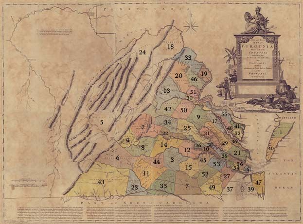 1770 Map of Virginia Counties #map #virgina #va #usa ...
