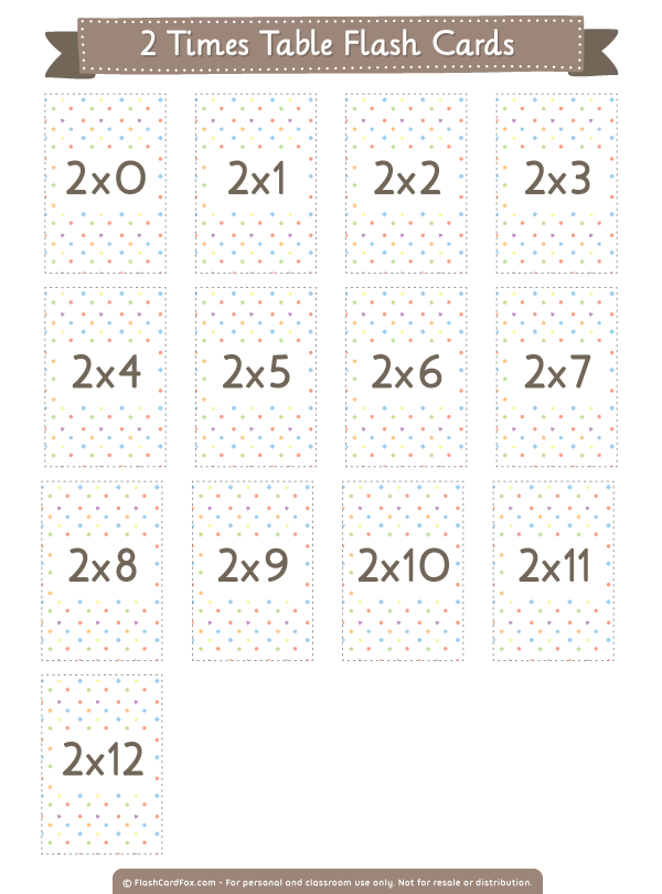 Free Printable 2 Times Table Flash Cards Them In Pdf Format At Http