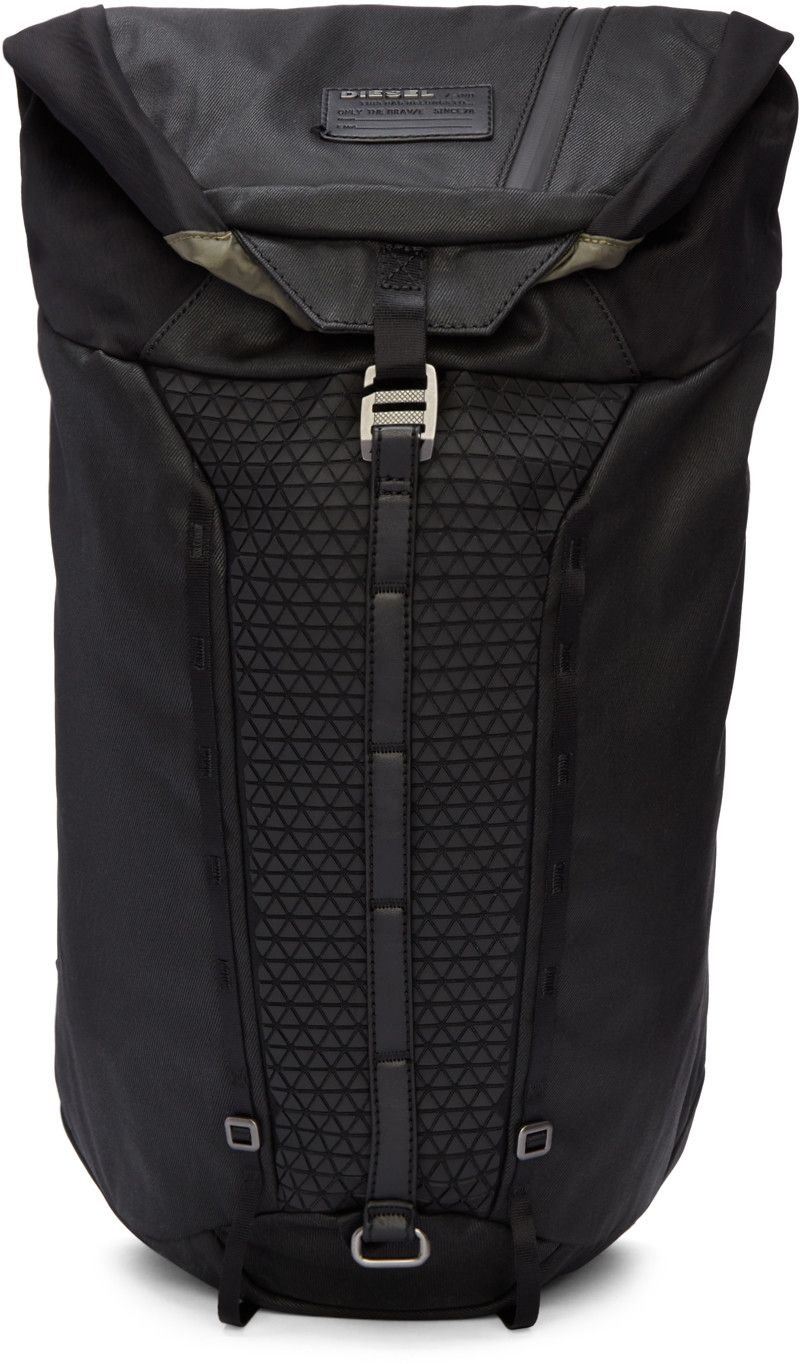 Coated Textile Backpack In Black Grosgrain Carry Handle Zippered