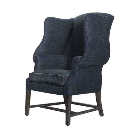 New Age Denim Chair - Our reproduction of a classic English wing back chair, hardwood frame. Timeless, denim wash. - Found at myWebRoom.com
