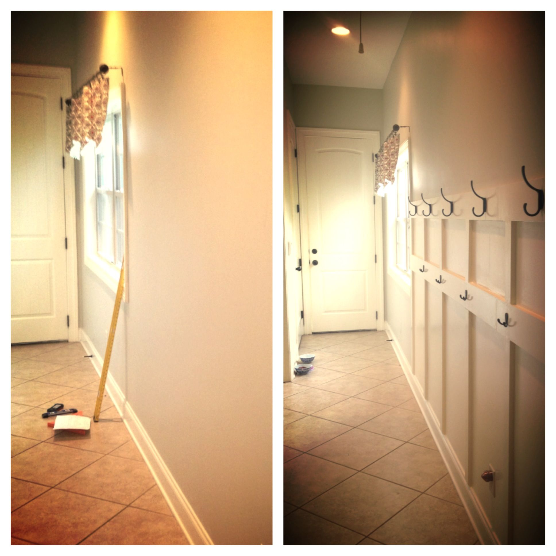 Narrow hallway from Garage. No room for mud room. Great solution ...