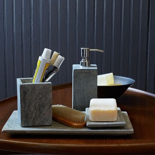 These Slate Bathroom Accessories