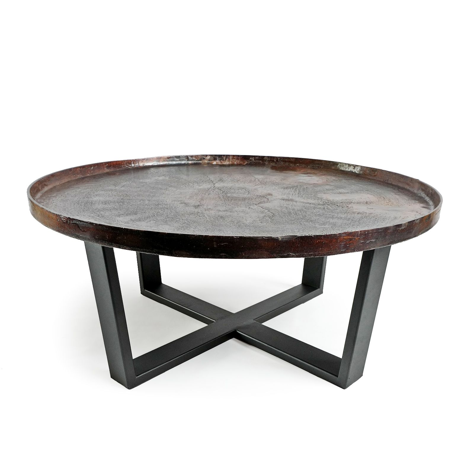 Modern Round Copper Finished Solid Aluminum Tray Top With Black Matte Iron Base Great Texture A Iron Coffee Table Copper Coffee Table Round Metal Coffee Table [ 1600 x 1600 Pixel ]