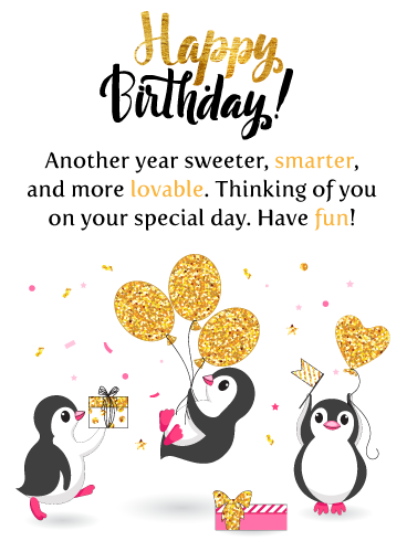 Adorable Penguins Happy Birthday Card For Niece Birthday Greeting Cards By Davia Happy Birthday Niece Happy Birthday Wishes Cards Happy Birthday Cards