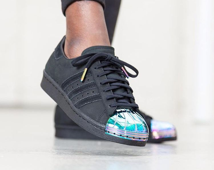 Adidas Superstar 80's W Black Suede 'Iridescent Metal Toe