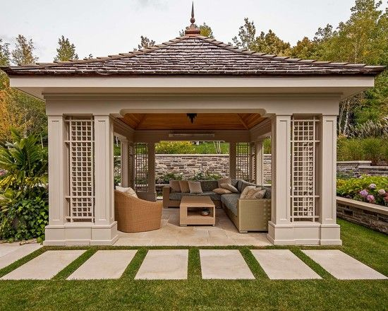 Garden design modern gazebo as sunroom and outdoor living for Backyard sunroom