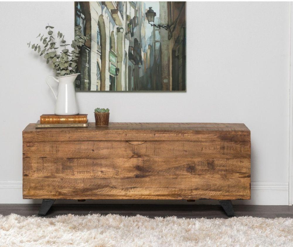 Hallway storage trunk  Americana Axis MidCentury Raw Mango Wood Storage Chest Living Room
