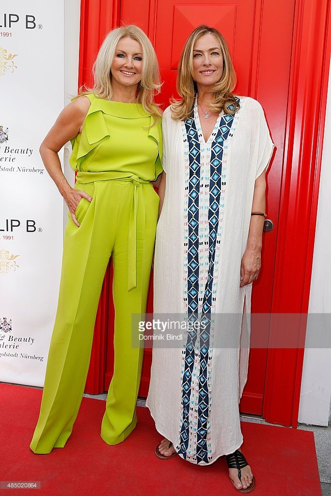 Frauke Ludowig and Tatjana Patitz during the 'Stargefluester' photo call at Hair & Beauty Galerie on August 23, 2015 in Munich, Germany.