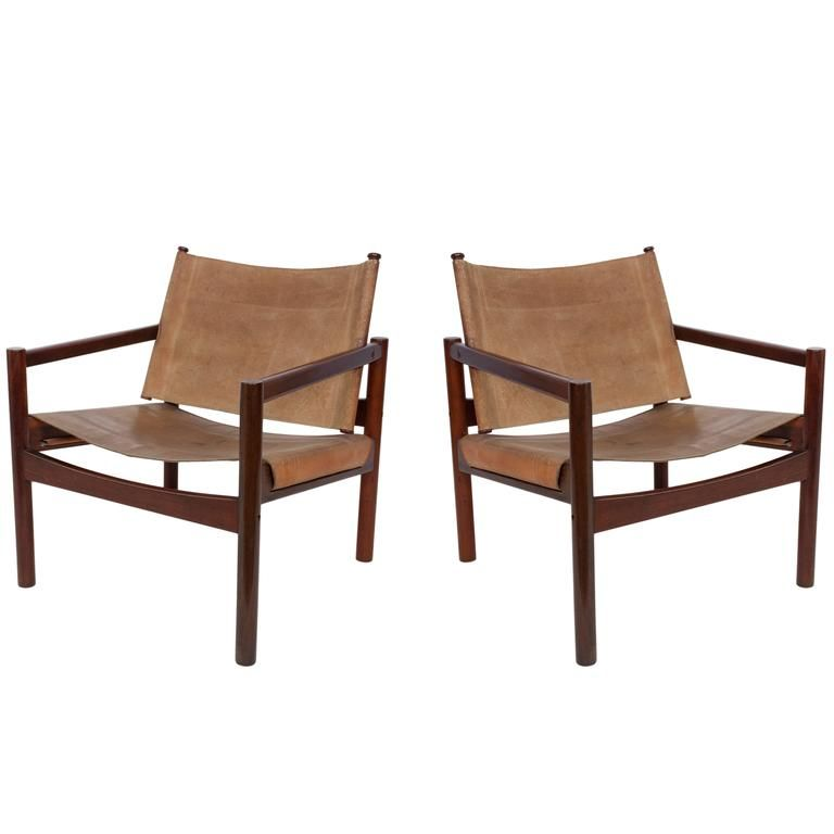 Pair Of Michel Arnoult Leather Sling Back Chairs In 2019