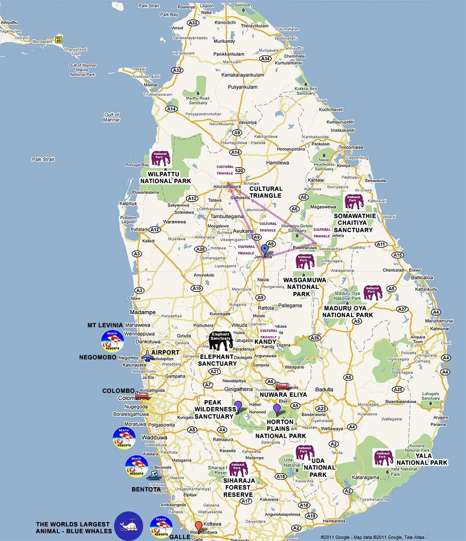 Map Of Sri Lanka Reisen