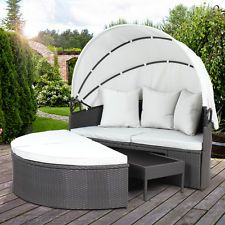 polyrattan sonnenliege gartenliege liegestuhl relaxliege lounge mit dach liege pergola. Black Bedroom Furniture Sets. Home Design Ideas