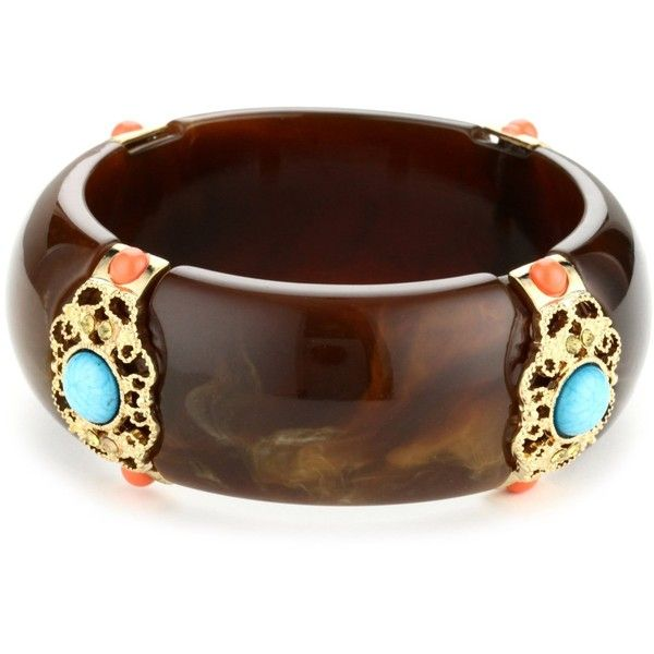 RAIN Brown and Turquoise Bangle Bracelet ($60) ❤ liked on Polyvore
