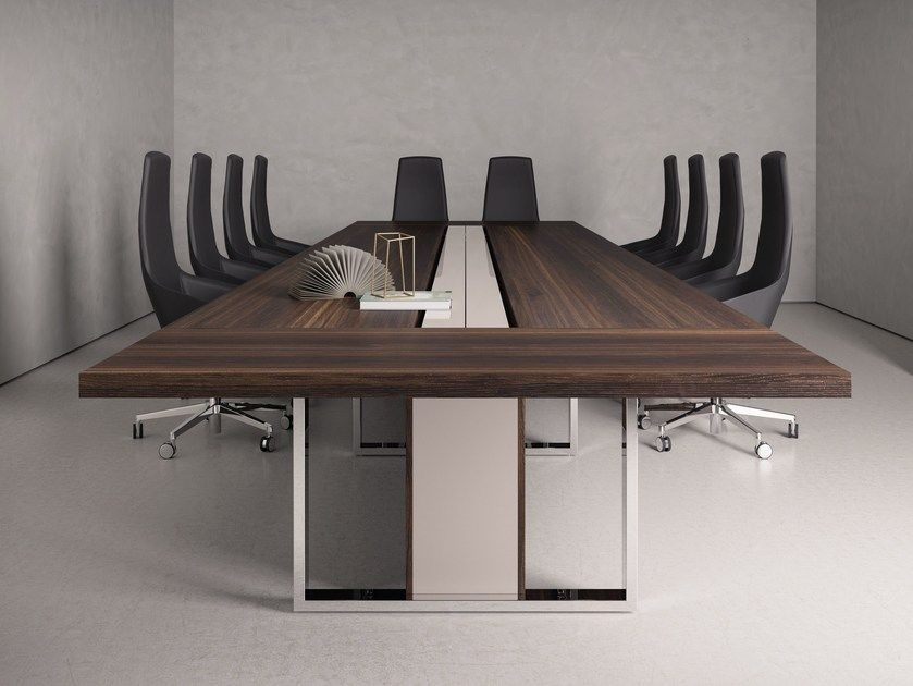 Rectangular Wooden Meeting Table With Cable Management BOARD - Conference room table cable management
