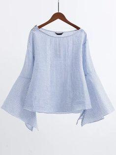Blusa manga acampanada con cuello barco y cremallera - azul-Spanish…