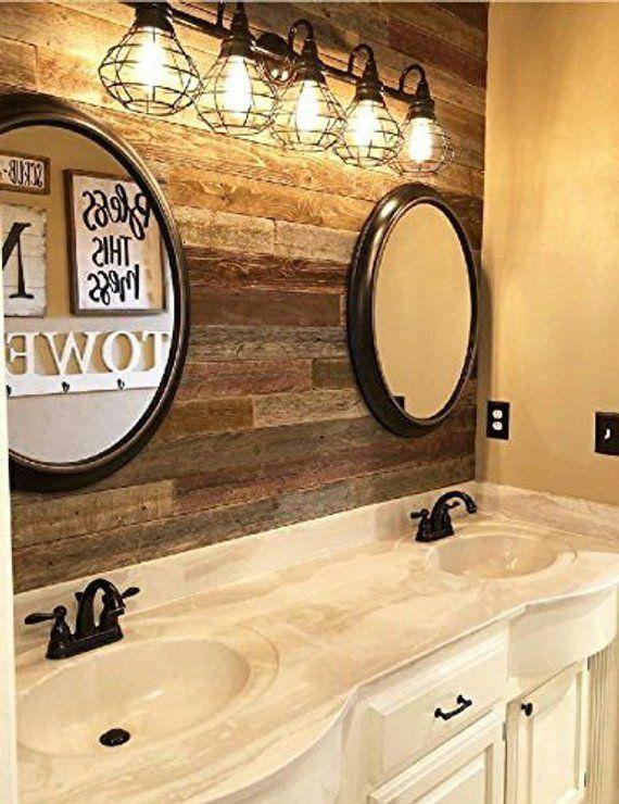 Peel Stick Rustic Reclaimed Barn Wood Paneling Etsy Barn Wood Projects Wood Wall Bathroom Wood Paneling