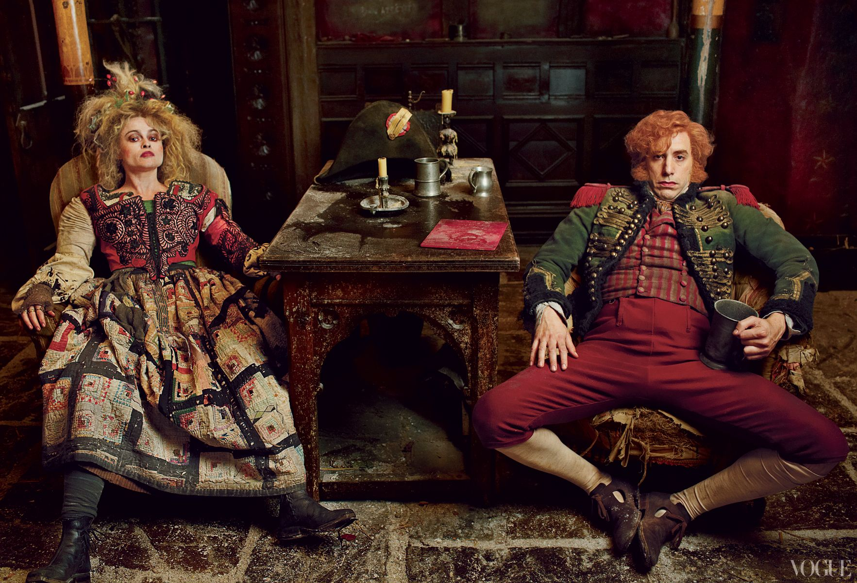 Helena Bonham Carter and Sacha Baron Cohen star as the wicked Madame and Monsieur Thénardier, who enslave Cosette after the death of her mother, Fantine, and exploit others at every opportunity.    Photographed by Annie Leibovitz