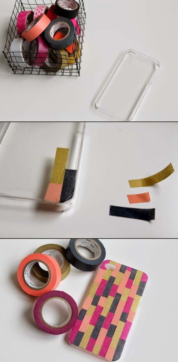 diy customiser sa coque de t l phone avec du masking tape diy. Black Bedroom Furniture Sets. Home Design Ideas