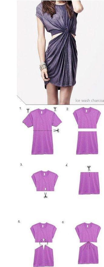 DIY no-sew tshirt into a dress!