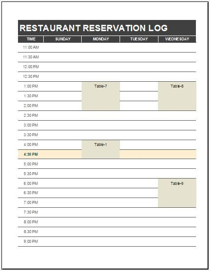 Restaurant Reservation Log Template Download Free At HttpWww
