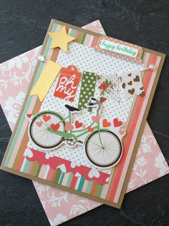Handmade Happy Birthday Card Card With A Bicycle And Banner Card