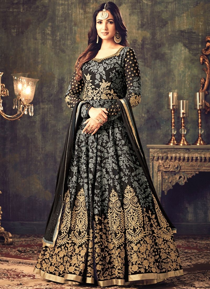 362b90c975a Grey and Black Embroidered Georgette Anarkali Suit features a gorgeous  georgette top alongside a santoon inner and santoon bottom.