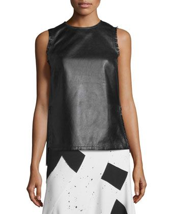 Sleeveless+Fringed+Leather+Shell,+Black+by+Derek+Lam+at+Neiman+Marcus.