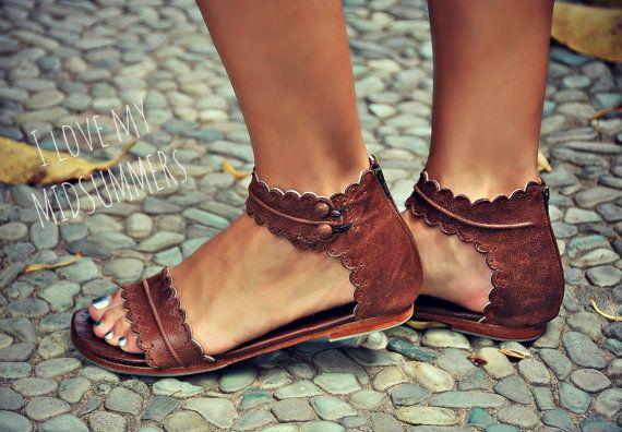 Ashley-OU Women Sandals Women Summer Sandals Plus Size 40 Leather Flat Sandals Female Flip Flop Casual Beach Shoes