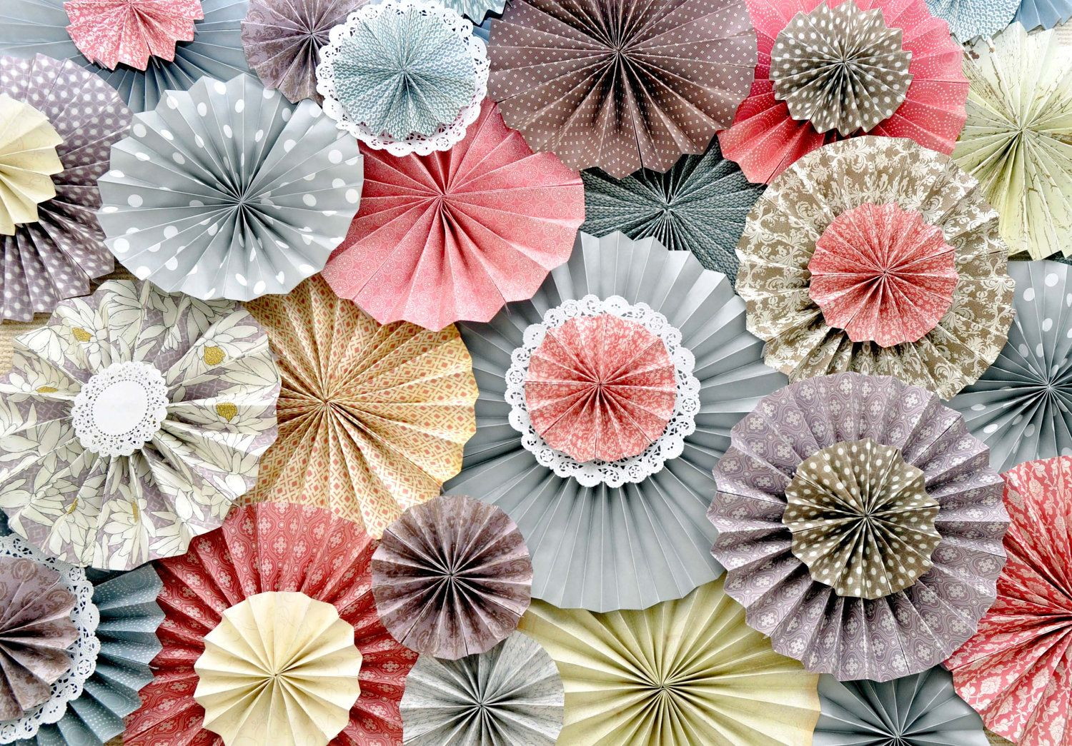 Wedding decorations paper  Pink Purple Gray Ivory and Brown KaLollie Paper Rosette Backdrop