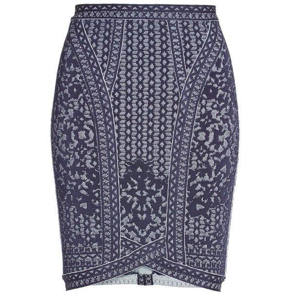 Herve Leger Jacquard Knit Skirt ($990) ❤ liked on Polyvore featuring skirts, knit skirt, herve leger skirt, blue skirt, patterned skirt and blue print skirt