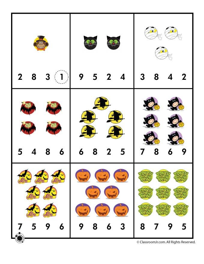Preschool Worksheets for Halloween Halloween Number Recognition ...