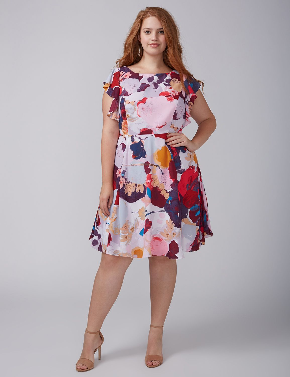 56d6ef43ef Floral Ruffle-Sleeve Dress by Julia Jordan Plus Size Womens Clothing