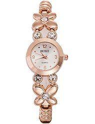 Reloj de mujer - BEIKE Reloj de pulsera del cuarzo dorado de diamante de  imitacion de mujer 964d6da462ae