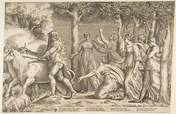 Giulio Bonasone | Hercules driving off the cattle of Geryon, at the right are the nymphs of Hesperides | The Met