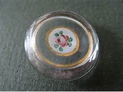 Antique Glass Sewing Button with enamel center - rose - ancien bouton ...