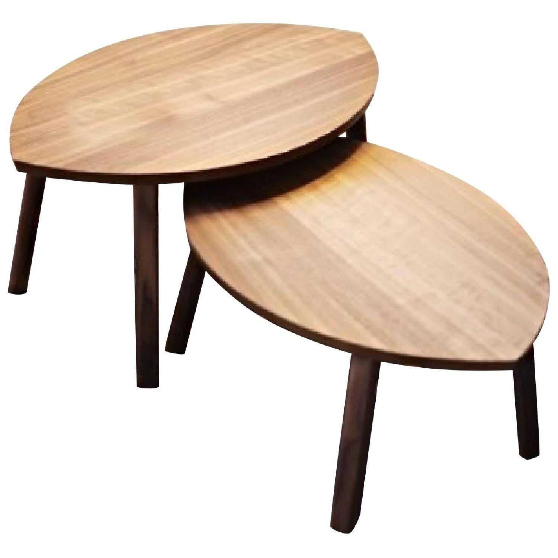 Ikea Stockholm Walnut Veneer Nesting Tables Pair Aptdeco Nesting Tables Ikea Stockholm Table [ 1500 x 1500 Pixel ]