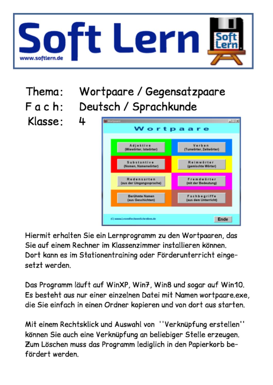 Ein Lernprogramm zu den Wortpaaren für den Einsatz im Stationentraining auf einem stationären Computer im Klassenzimmer, läuft unter WinXP, Win7, Win8 und Win10.