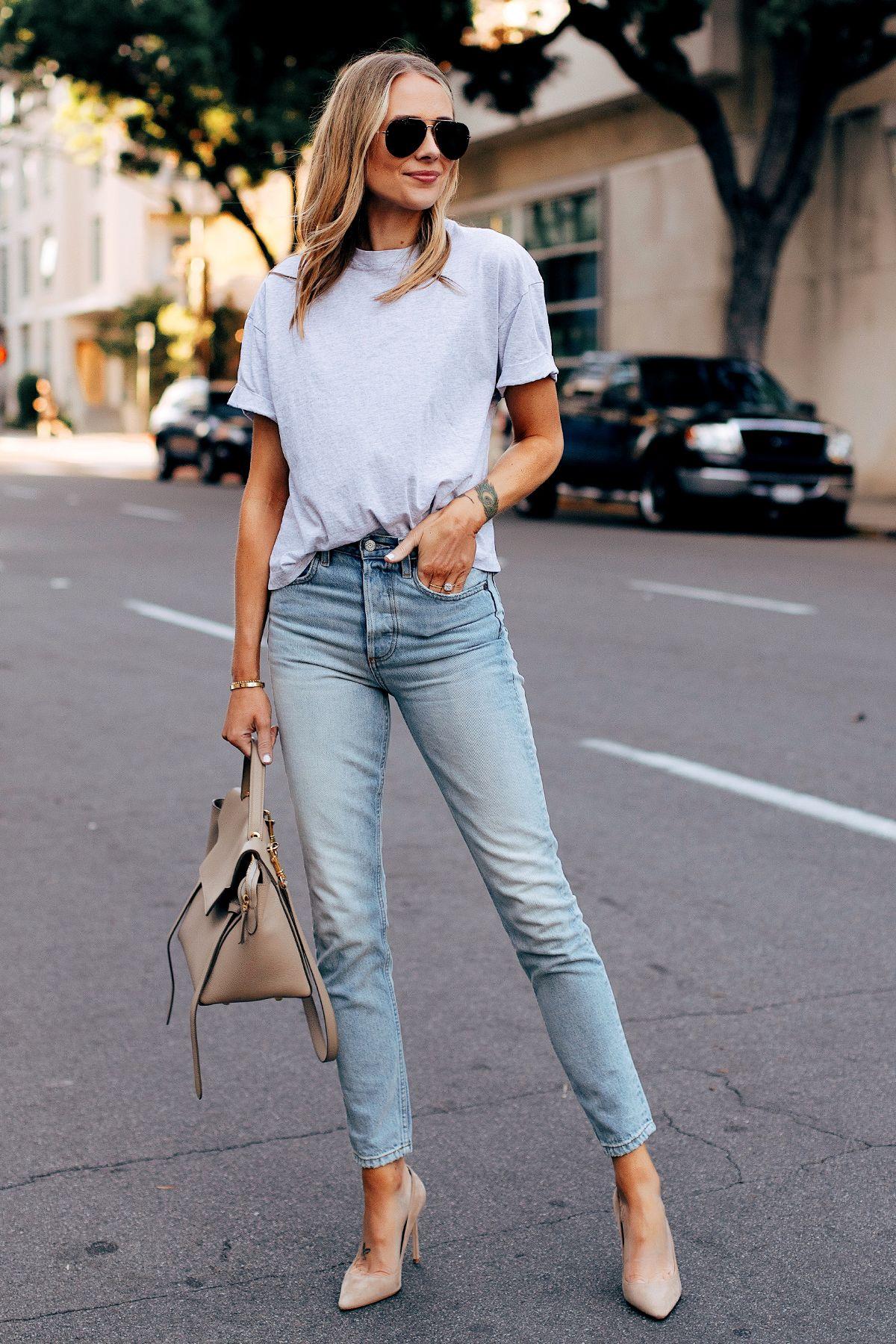 b73b774469257 Fashion Jackson Wearing Topshop Grey Tshirt Boyish High Rise Skinny Jeans  Jimmy Choo Beige Romy Pumps