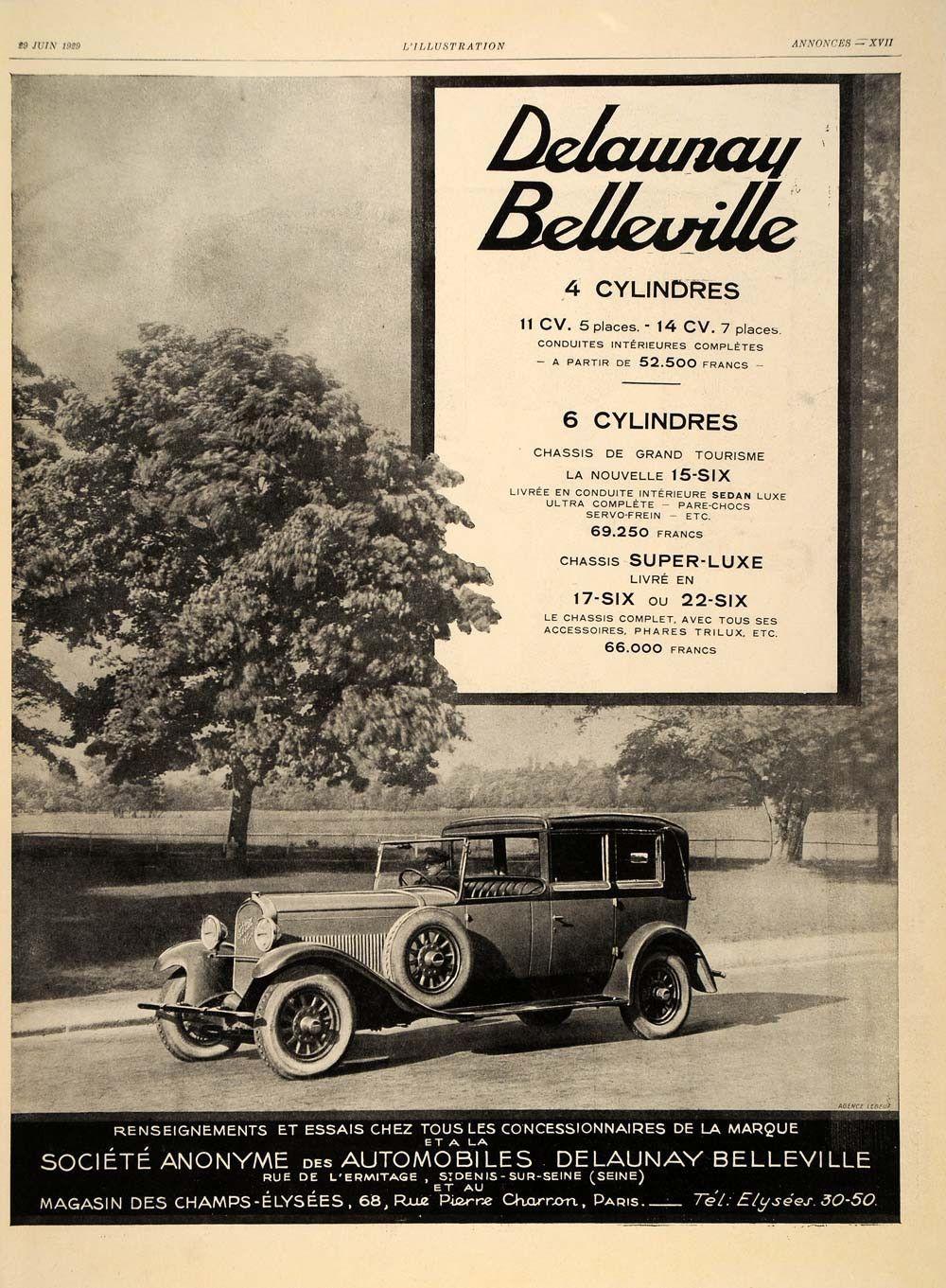 1929 French Ad Delaunay Belleville Vintage Automobile Original Ill1 Vintage Cars Automobile Classic Cars