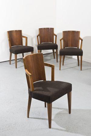 Pierre CHAREAU (1883-1950) Suite de quatre fauteuils modèle «MF ...