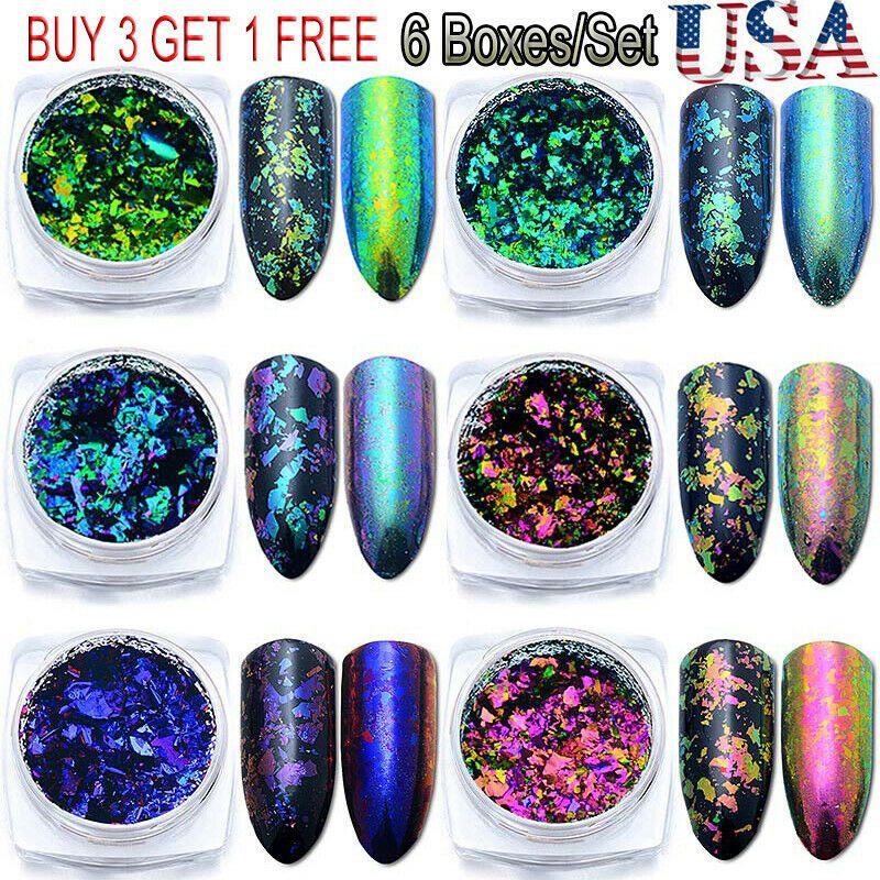 6boxes chameleon nail art sequins foil glitter holographic