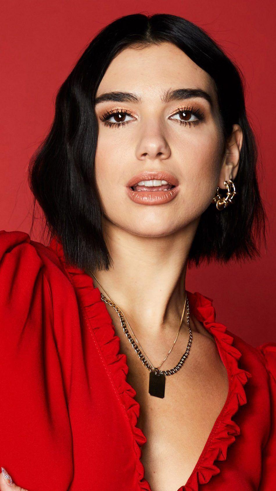 Dua Lipa In Red Dress 2019 4k Ultra Hd Mobile Wallpaper Dua Lipa Short Hair Styles
