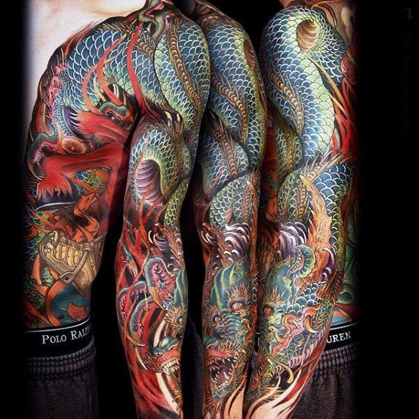 Photo of 100 Dragon Sleeve Tattoo Designs für Männer – Fire Breathing Ink Ideas – #Breathing …