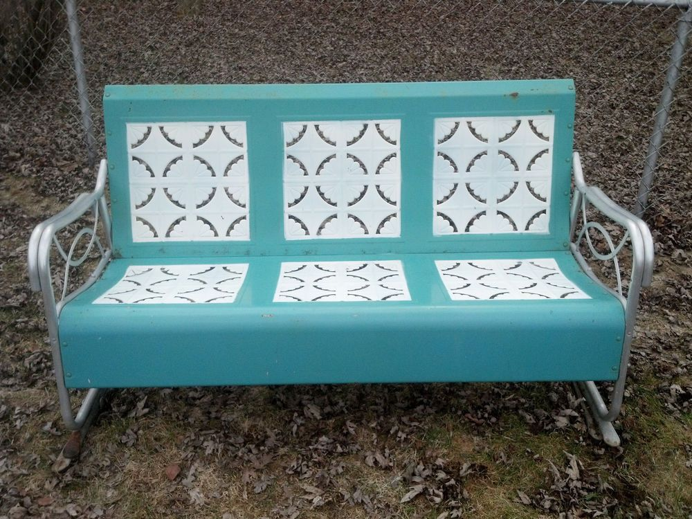 Vintage Metal Glider Patio Lawn Bench 3 Seater Pie Crust Pickup