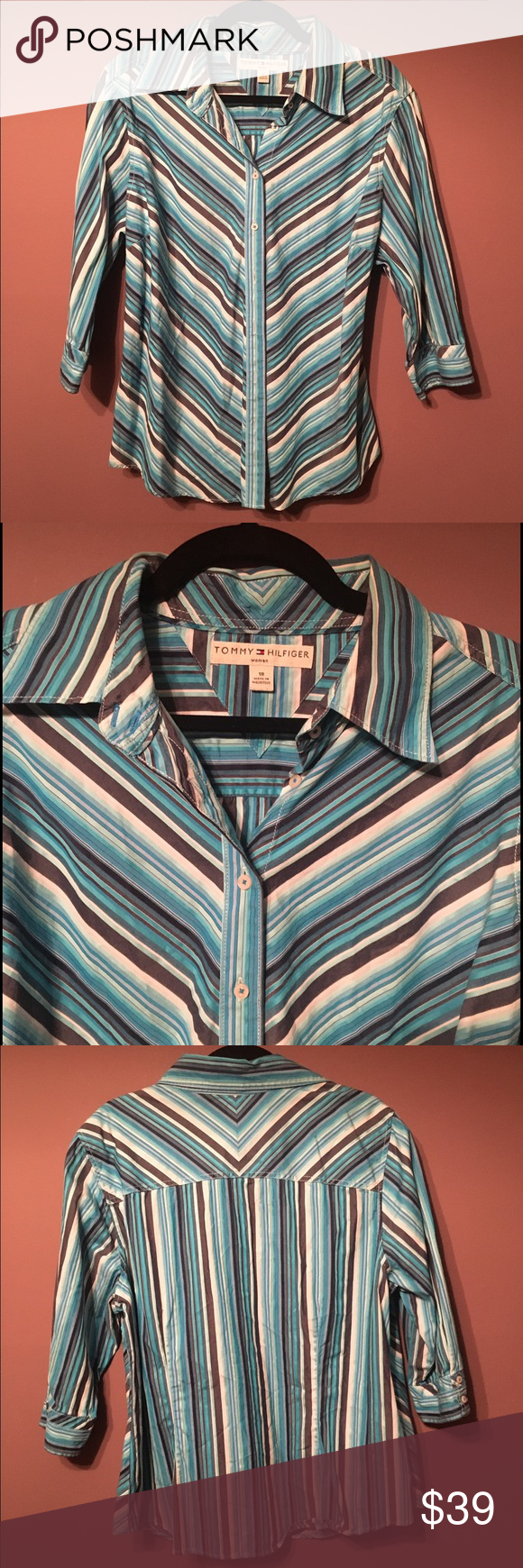 ♨️♨️ Tommy Hilfiger Shirt Nice condition. Approximate measurements are 30 inches in length, 26 inches in width along the bottom, 26 inches pit to pit, 17 inches arm length measured from the shoulder. Hundred percent cotton. Wash and tumble dry. Tommy Hilfiger Tops Button Down Shirts